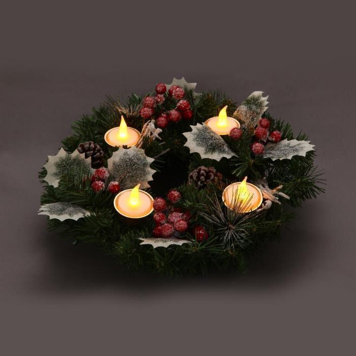 Couronne de Noël lumineux 30 cm