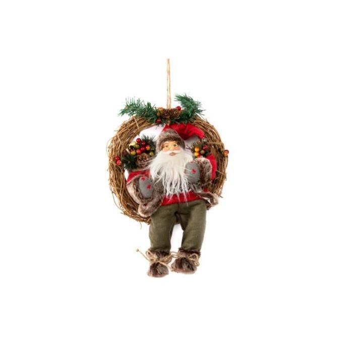Couronne de Noël Pere Noël en osier 30x38 cm