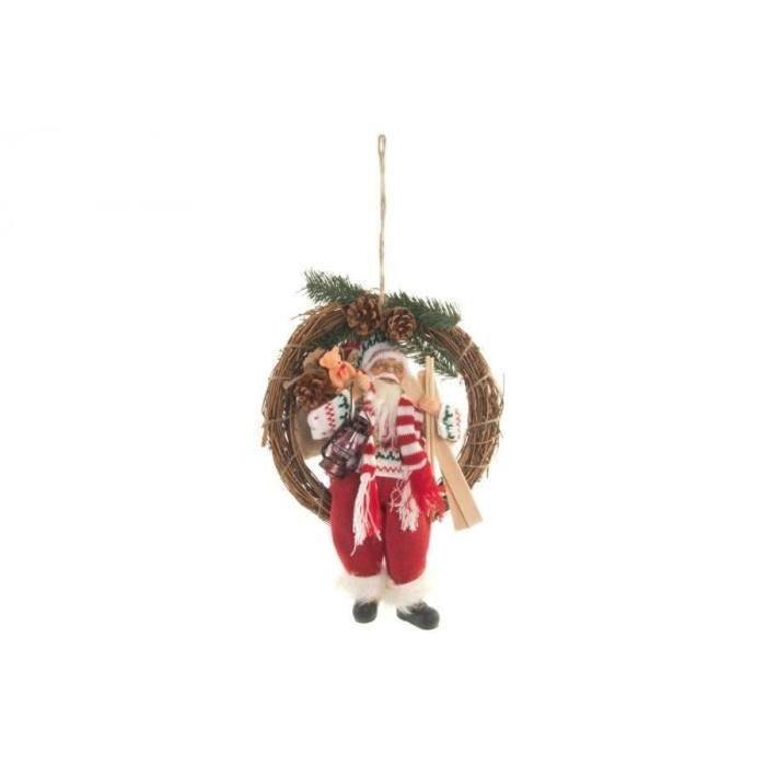 Couronne de Noël Pere Noël en osier 30x38 cm Rouge