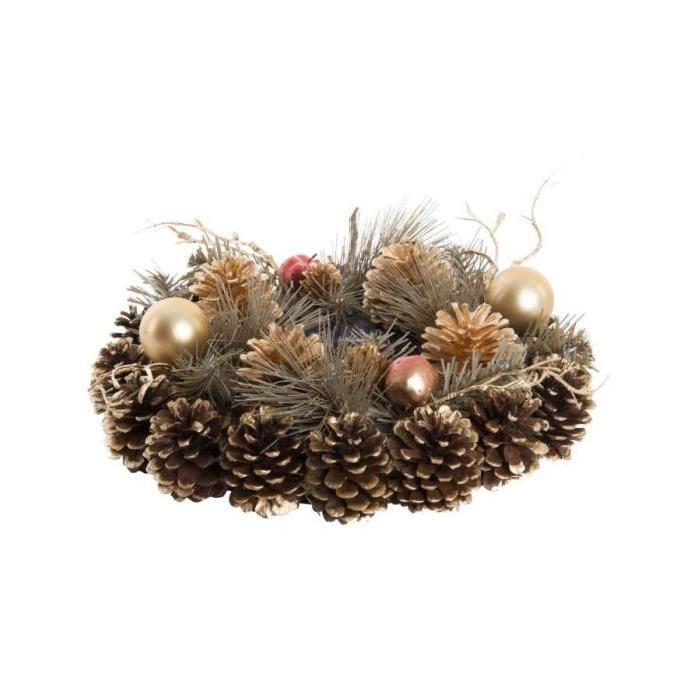 Couronne de Noël de porte ananas en fibre naturelle 30 cm