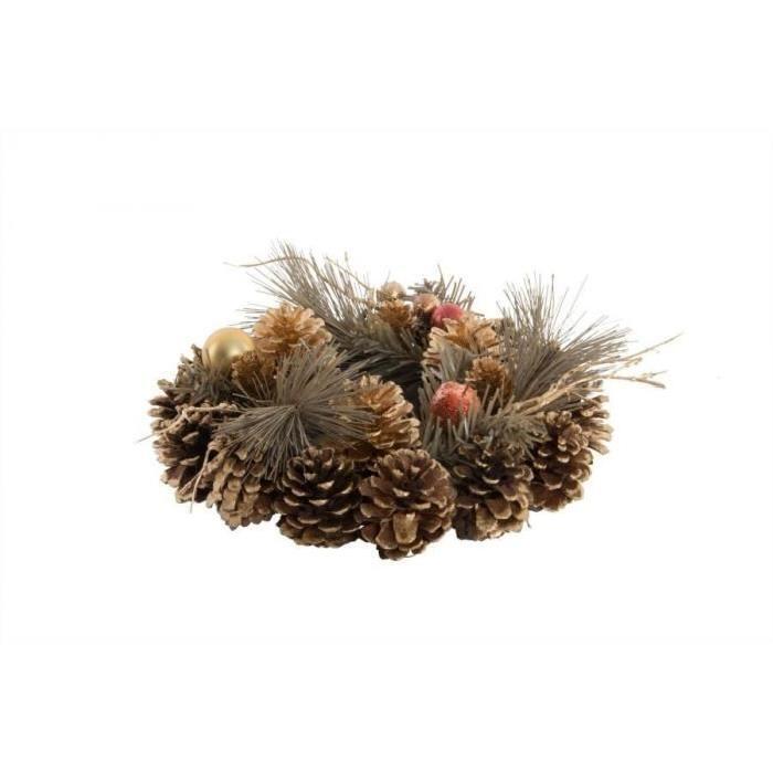 Couronne de Noël de porte Ananas en fibre naturelle 23 cm