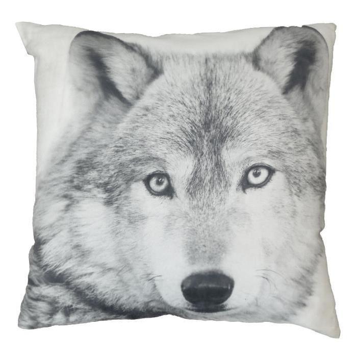 Coussin décoratif Loup 45 cm blanc
