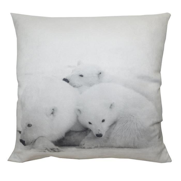 Coussin décoratif Oursons 45 cm blanc