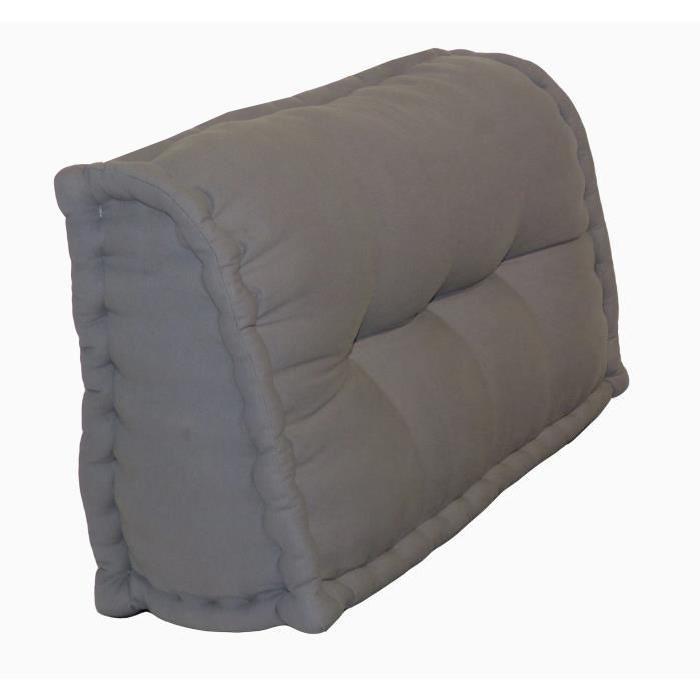 Dossier Cale-Reins 100% coton 60x22/11xH.35 cm gris foncé