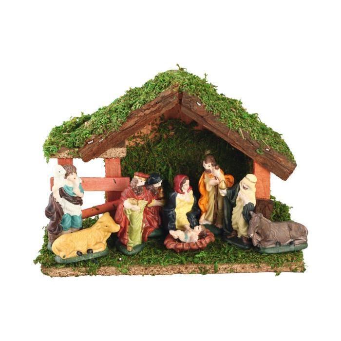 Creche de Noël Beige 18,5 cm avec 9 Santons de Noël multicolore