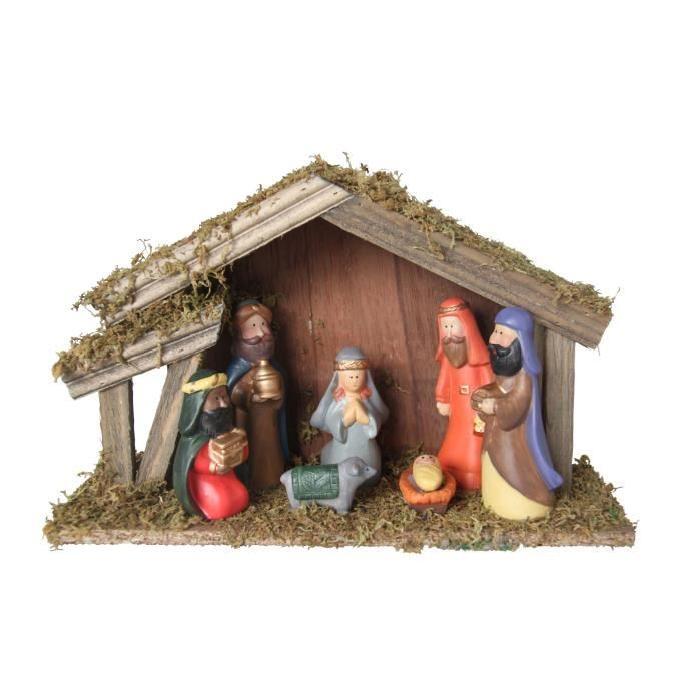 Creche de Noël enfant Multicolore en bois 30x10x20 cm