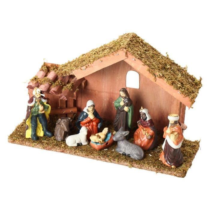 Creche de Noël Beige 17,5 cm avec 9 Santons de Noël multicolore