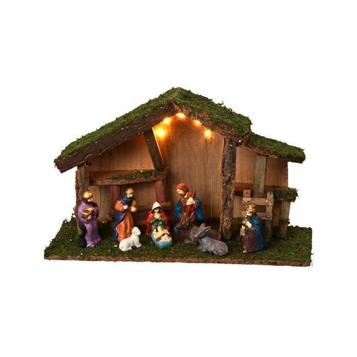Creche de Noël lumineux avec 9 santons en porcelaine H38 cm