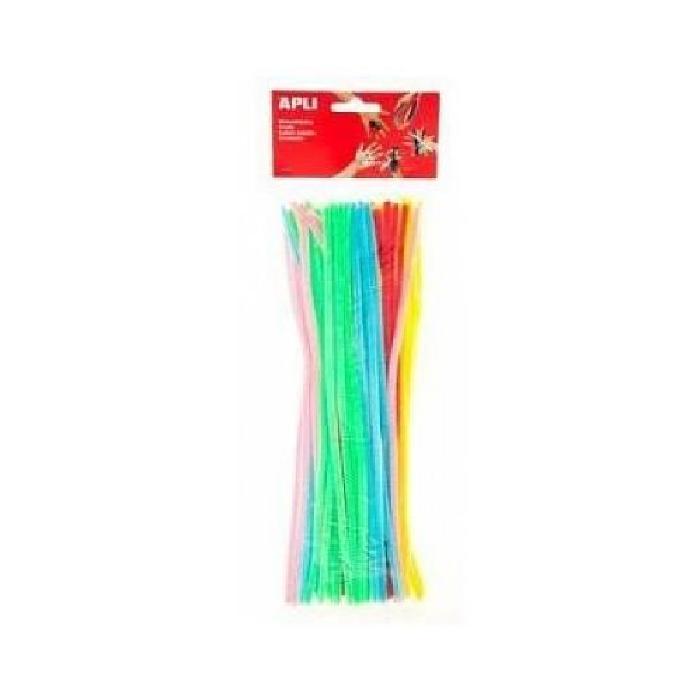 APLI Sachet 50 chenilles - Couleurs assorties fluorescentes - 30 cm
