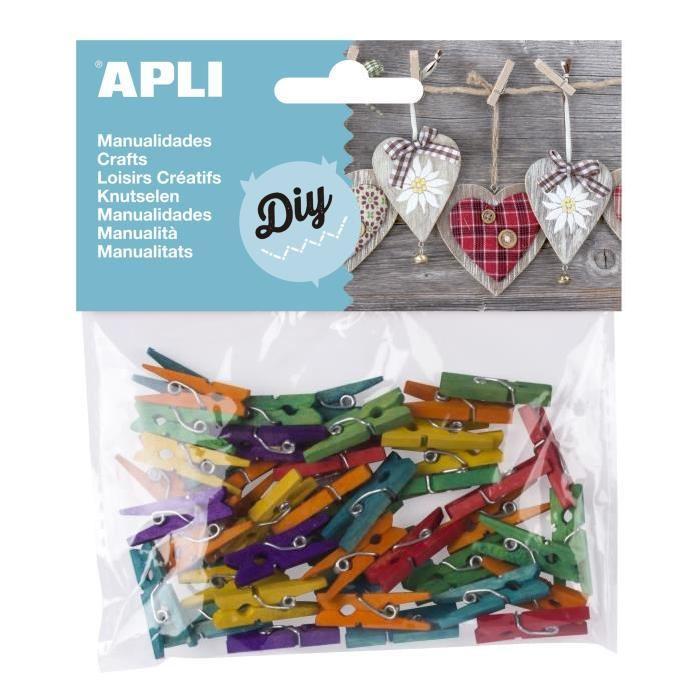 APLI Sachet de 45 mini pinces en bois couleurs assorties - 25x3 mm