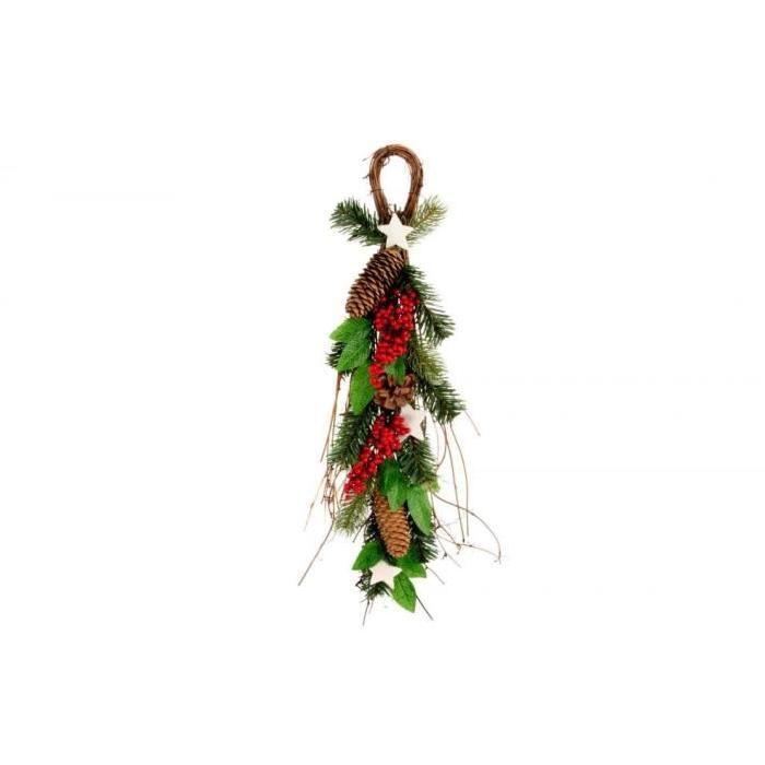 Branche de Noël a suspendre vert en rotin 50 cm