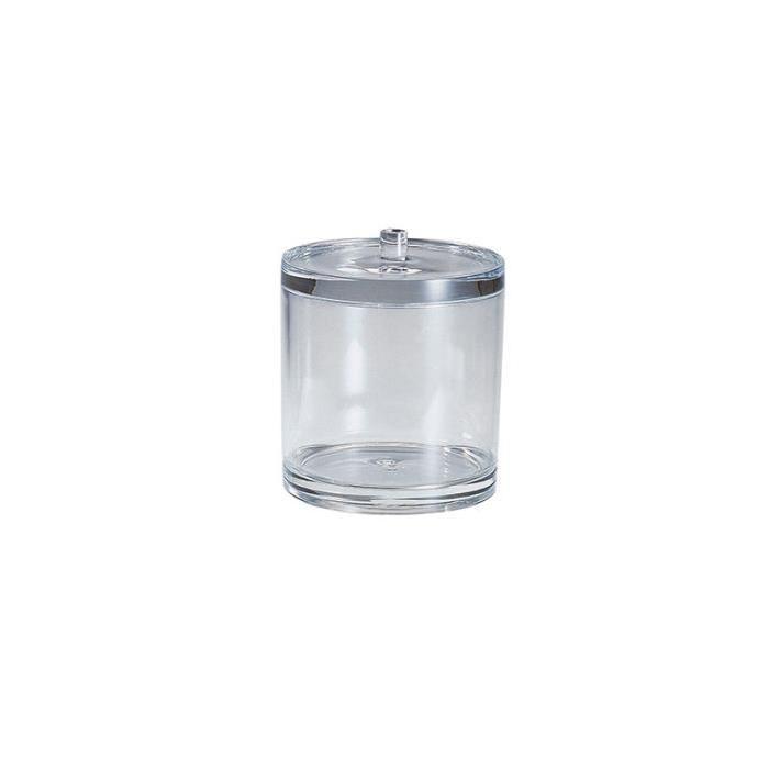 GERSON Boite a coton avec couvercle - Ř 9,8 cm H13,3 cm - Transparent