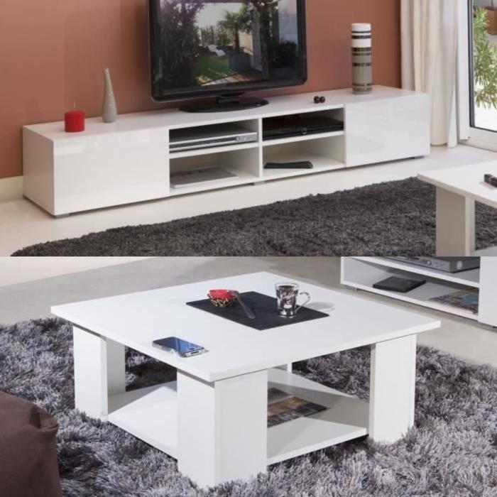 LIME Salon complet coloris blanc brillant 2 pieces 1 meuble TV 185cm + 1 table basse carrée
