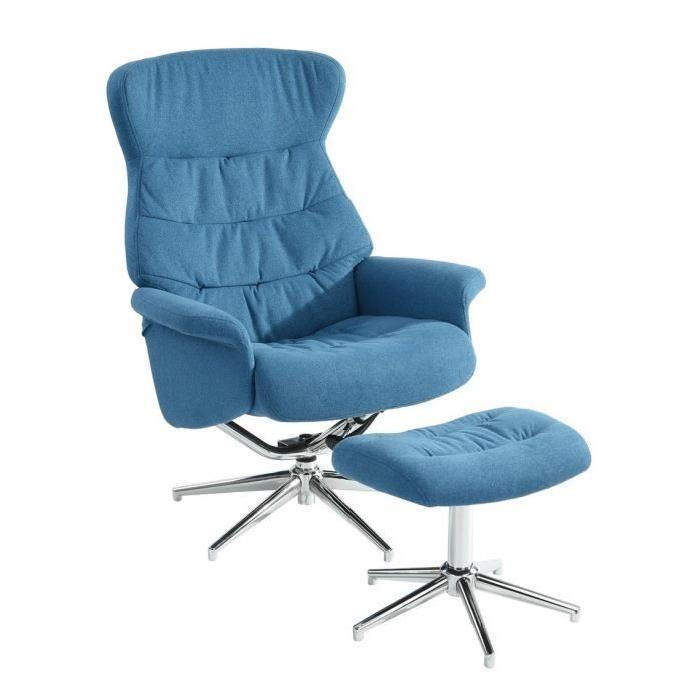 PAPAMOA Fauteuil de relaxation inclinable en métal chromé - Tissu bleu - Contemporain - L 52 x P 83-115 cm