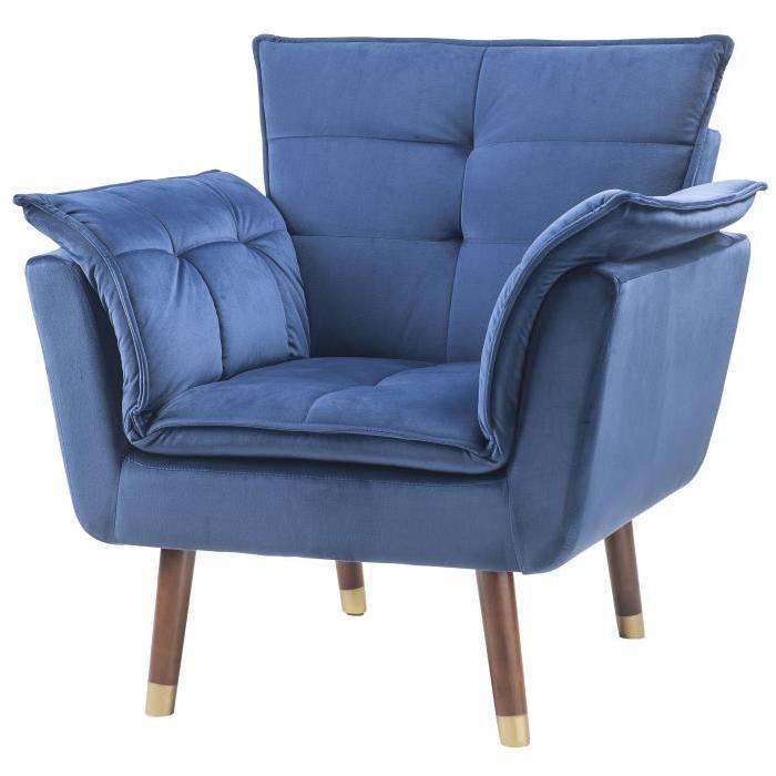 MARCO Fauteuil en tissu velours bleu nuit - Contemporain - L 45 x P 51 cm