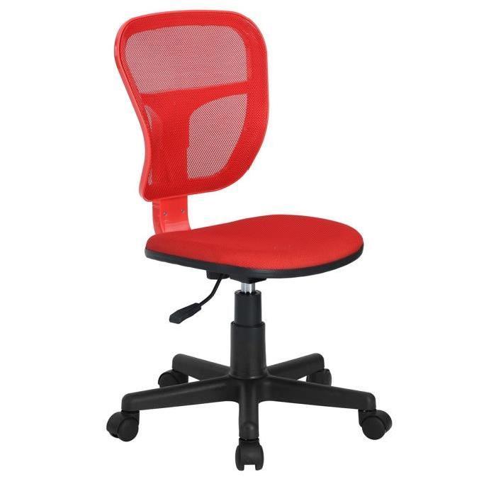 FLYINGO Chaise de bureau - Tissu maille rouge - Style classique - L 47 x P 40 cm