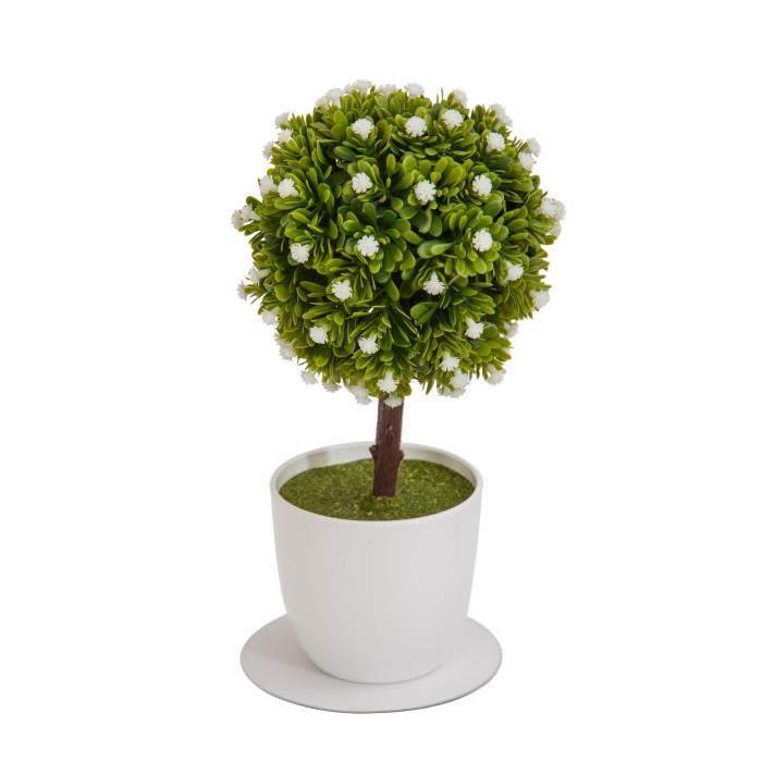 Arbre Boule de buis artificiel fleuri Blanc - En pot Blanc- Hauteur 27 cm