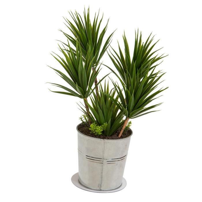 Plante artificielle Yucca - Pot en zinc- Hauteur 38 cm