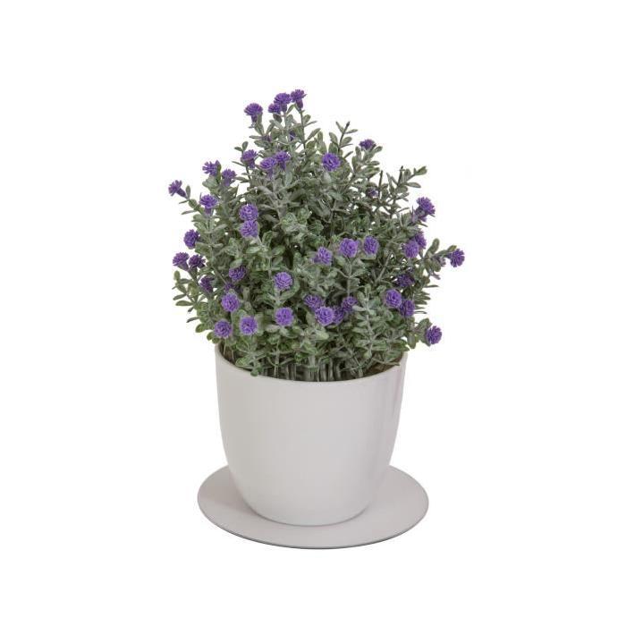 Plante grasse artificielle fleurie Mauve - En pot Blanc - Hauteur 22 cm
