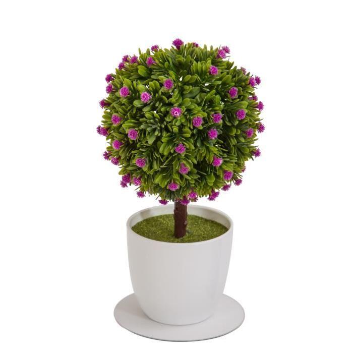 Arbre Boule de buis artificiel fleuri Fuchsia - En pot Blanc- Hauteur 27 cm