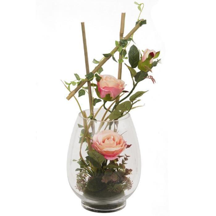 Vase en verre garni de Roses artificielle saumon Rose / Bamboo / Lierre - Hauteur 50 cm