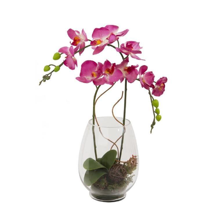 Grand Vase en verre garni de 2 Branches d'orchidées artificielles incurvées - Fuchsia - Hauteur 55 cm
