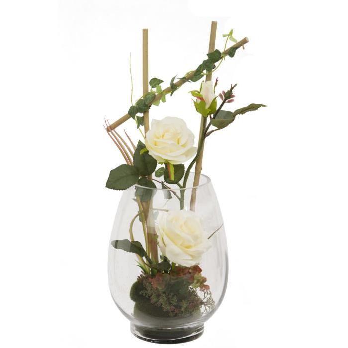 Vase en verre garni de Roses artificielle Blanches / Bamboo / Lierre - Hauteur 50 cm