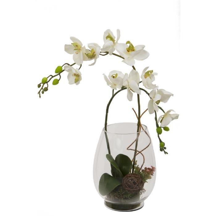 Grand Vase en verre garni de 2 Branches d'orchidées artificielles incurvées - Blanches - Hauteur 55 cm