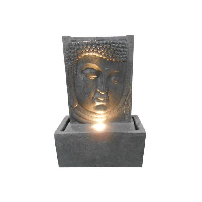 HOMEA Fontaine Plaque Tete Bouddha 4 LED 32x17xH46 cm gris