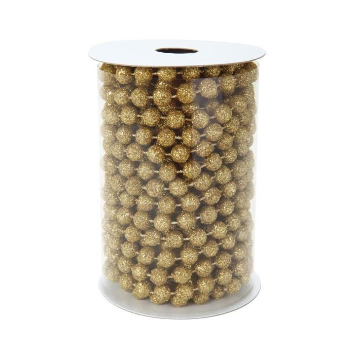 Guirlande Perles intérieure Or avec paillettes