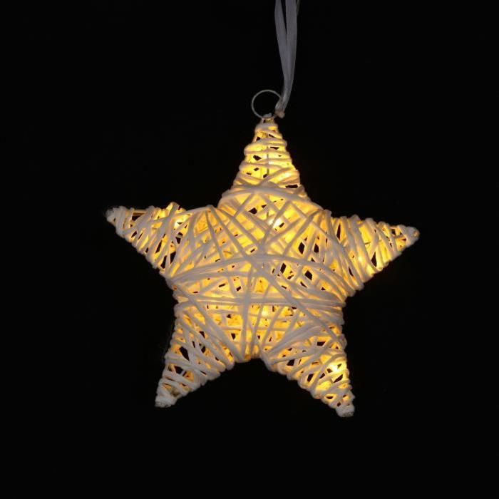 Suspension de Noël Etoile lumineuse en raphia 15 cm
