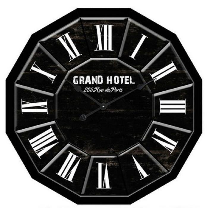 GRAND HOTEL Horloge murale Ř80cm en bois noir