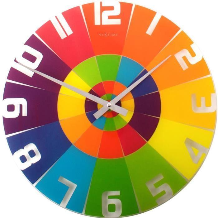 NEXTIME Horloge murale - Rainbow - Verre - Coloré  Ř 43 cm