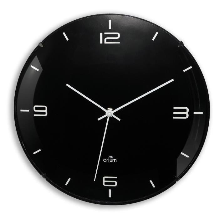 ELEGANTA Horloge silencieuse Ř29 cm noir et blanc