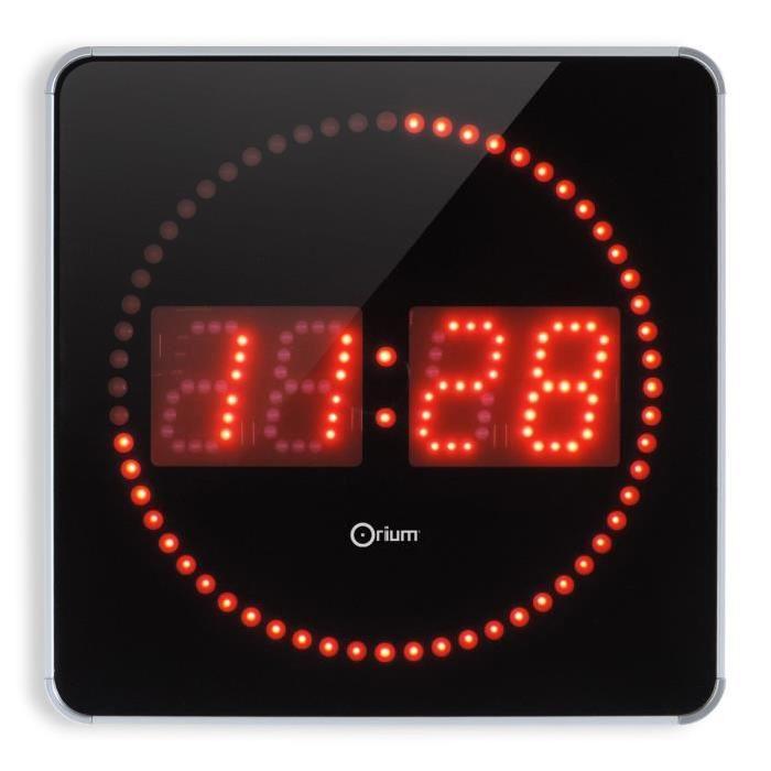 STUDIO Horloge a LED Studio 2en1  Ř28 cm aluminium et rouge