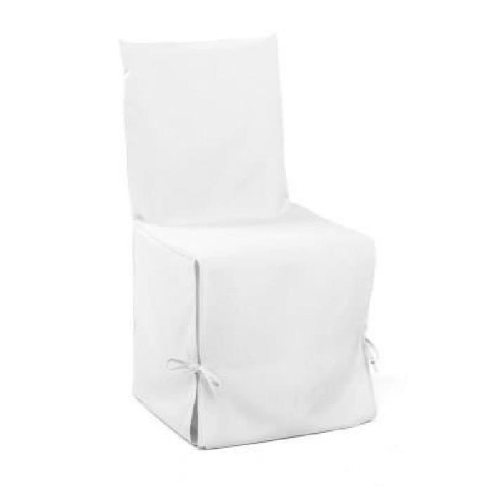 DOUCEUR d'INTERIEUR Housse de chaise unie a nouettes 50x50x50 cm Essentiel blanc
