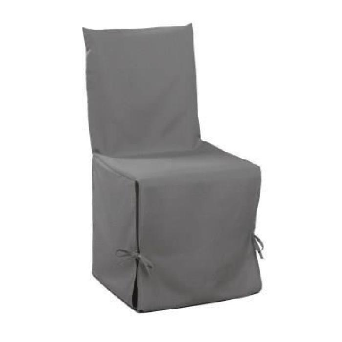DOUCEUR d'INTERIEUR Housse de chaise unie a nouettes 50x50x50 cm Essentiel gris