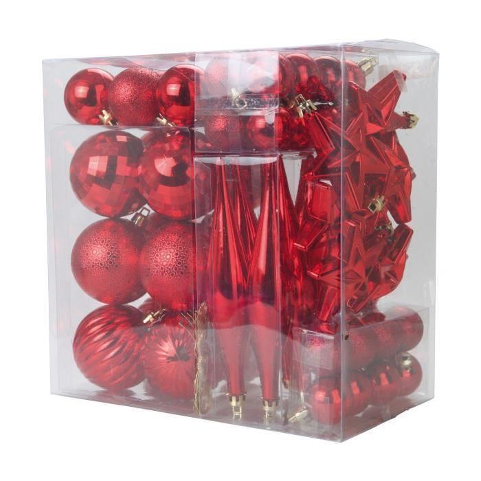 Lot de 60 décorations de Noël pour sapin rouge