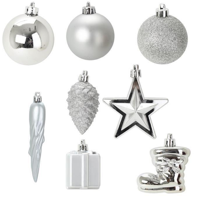 Lot de 40 décorations de Noël pour sapin argent