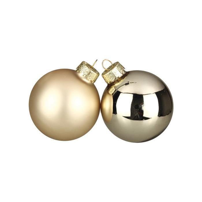 Lot de 30 Boules de Noël champagne en verre Ř 6 cm