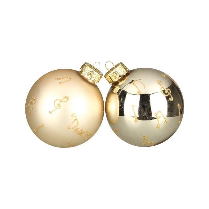Lot de 8 Boules de Noël champagne en verre Ř 7 cm