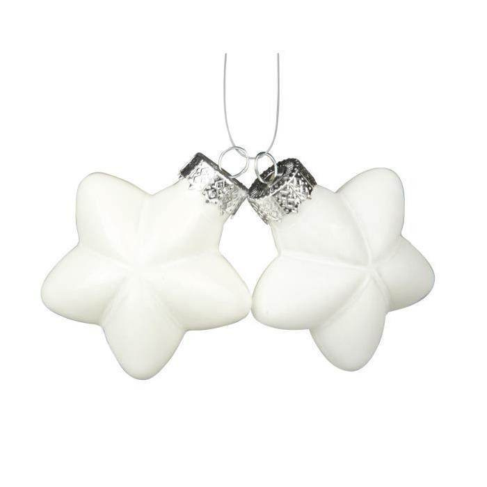 Lot de 8 Boules de Noël blanc en verre Ř 6 cm