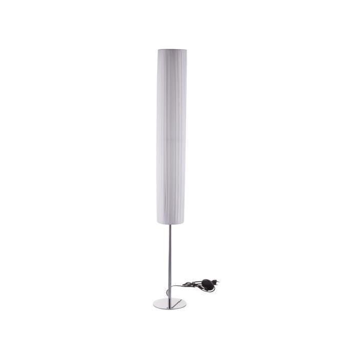 Lampadaire pied et base chromé + Abat-jour en tissu blanc - H 120cm - Ř 16cm