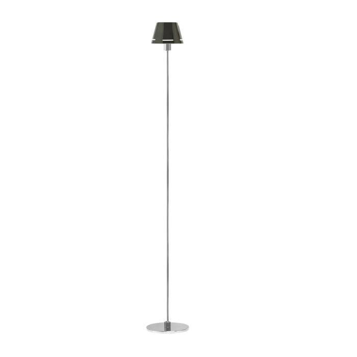 Lampadaire chromé + abat-jour en métal noir ? H 121 cm
