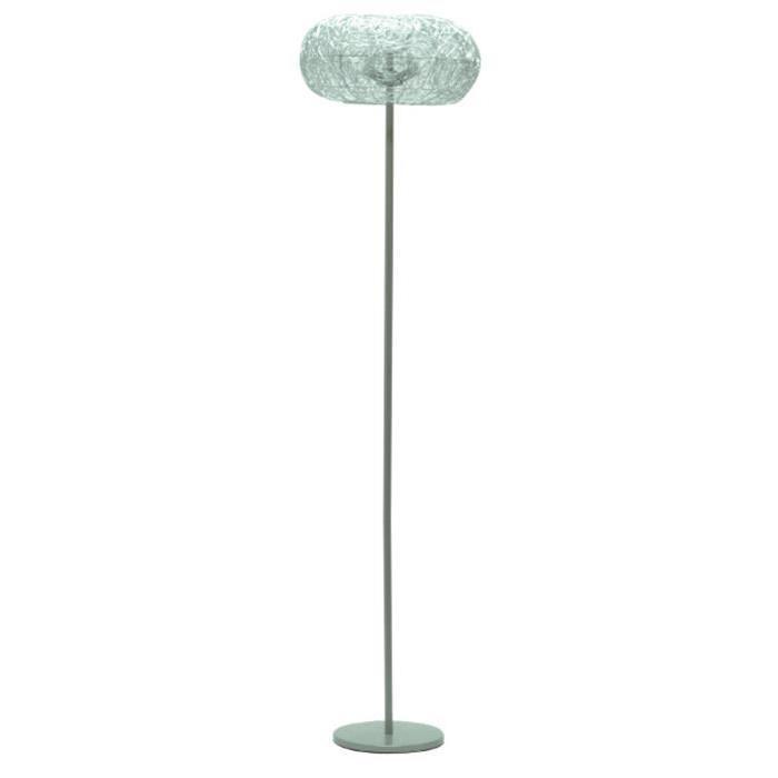 Lampadaire en nickel satiné et métal tréssé - H 162 cm