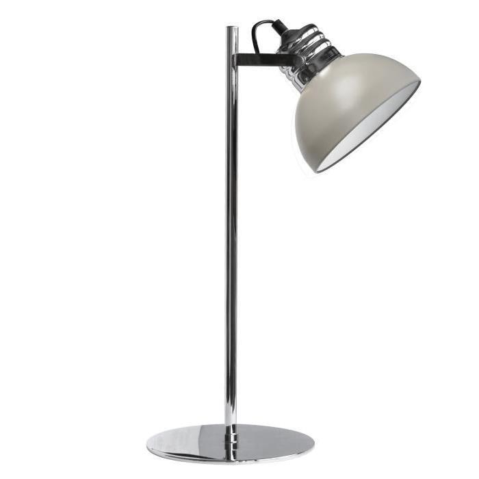 Lampe a poser Charlie hauteur 45 cm diametre 14 cm E27 40W chrome et taupe