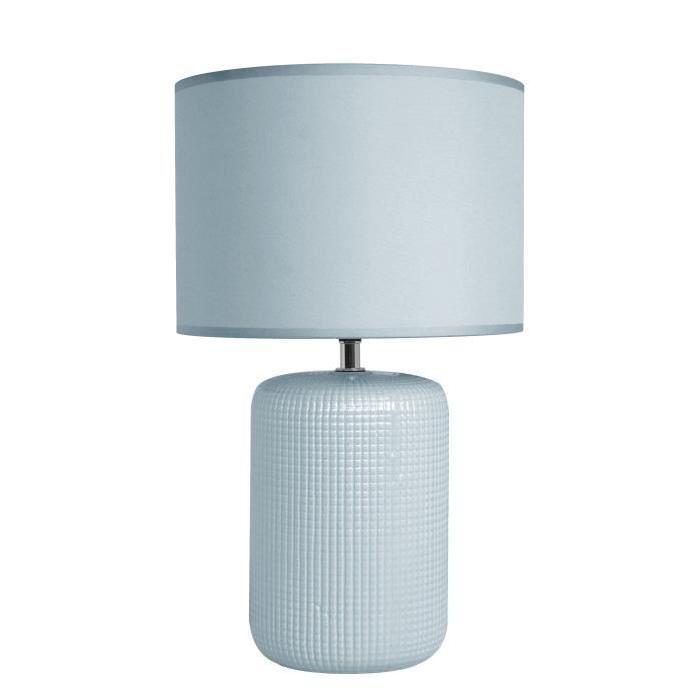 Lampe a poser/chevet Tessa avec abat-jour assorti hauteur 39,5 cm diametre 24 cm E14 40W bleu