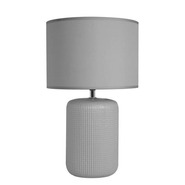 Lampe a poser/chevet Tessa avec abat-jour assorti hauteur 39,5 cm diametre 24cm E14 40W gris