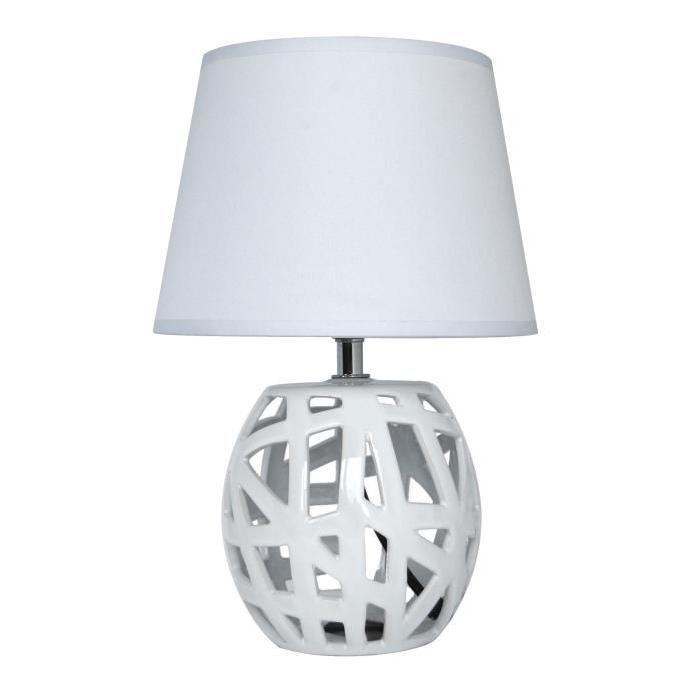Lampe a poser/chevet Shania avec abat-jour assorti hauteur 35 cm diametre 24 E14 40W blanc