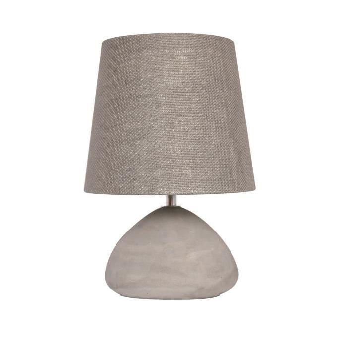 Lampe a poser/chevet Burton avec abat-jour assorti hauteur 30 cm diametre 21 cm E14 40W gris béton